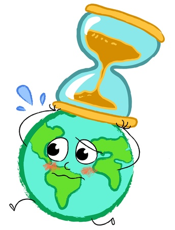 end of the world: Planet earth running desperately with hourglass