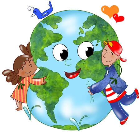 cartoon earth:  Two kids embracing a happy planet earth Stock Photo