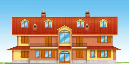 edifice: Precise architecture of an italian house Stock Photo