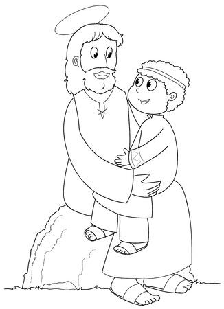 Jesucristo con un niño pequeño. Ilustración en blanco y negro.