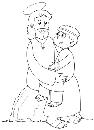 friend hug: Jesus Christ with a young child. Black and white illustration. Stock Photo