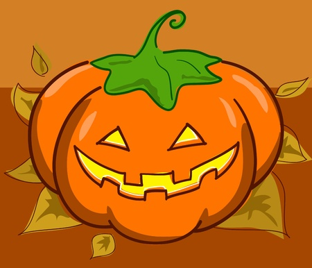Halloween pumpkin on dead leaves. Autumn illustration. illustration