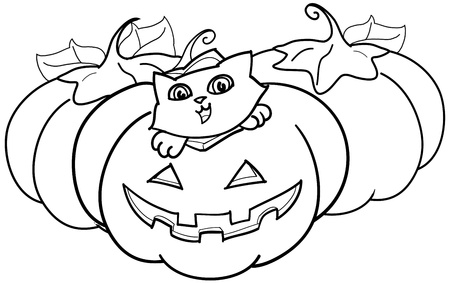 A cute cat inside a halloween pumpkin. Coloring illustration for kids. illustration