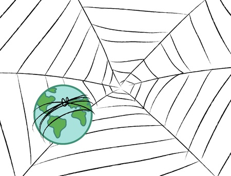 confined: Stylized earth caught in a spider net. Stock Photo