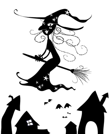 Black silhouette of halloween flying witch. photo