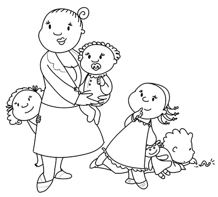 sitter: A mother or a baby-sitter with four little children. Stock Photo