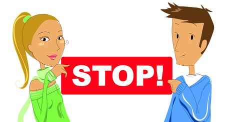 alt: A young woman and a young man with a red STOP sign Stock Photo