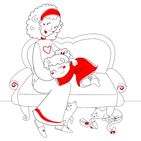 purring: A cute girl on a sofa with her mom, under it two cats are purring  Stock Photo