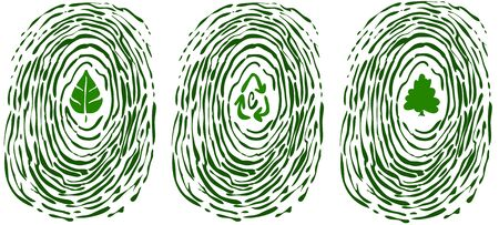 thumbprint: A finger print with symbols of environment in the middle: a leaf, recycling arrows and a tree.