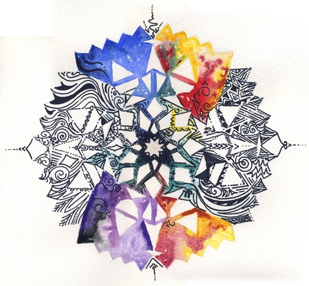 Hand painted mandala: watercolor and black pen, isolated on white background 스톡 콘텐츠