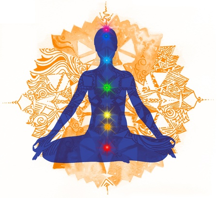 Mandala  Lotus pose with hands up in prayer  Padmasana with colored chakra points