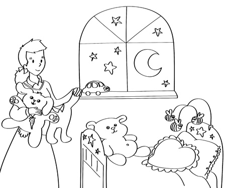 cradle: A mother in a baby-room with teddies, little dresses and toys  Black and white illustration  Stock Photo