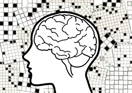 crosswords: Profile of a man with visible brain and crosswords on the background