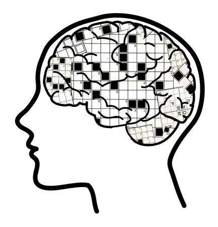 Profile of a man with visible brain and crosswords 스톡 콘텐츠