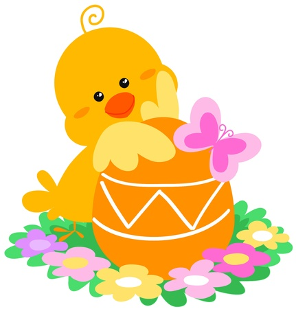 A cute easter scene with a little chick, a egg, e butterfly and flowers Digital illustration