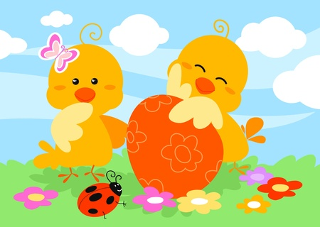 A cute easter scene on green grass with two little chicks, a egg, a butterfly, a ladybug and flowers  Digital illustration