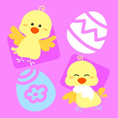 Two little chicks and two eggs on a pink background  Digital illustration  illustration