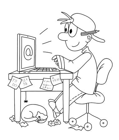 Hombre joven escribiendo en la computadora Foto de archivo - 12964102