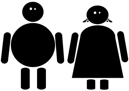 Black clip art of a fat male and female  스톡 콘텐츠