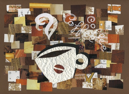 Aromatic cup of coffee  Collage of different pieces of brown printed paper, Hand made artwork