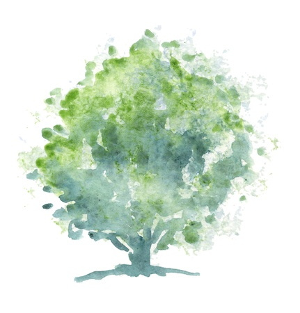 Stylized green tree  Painting executed in traditional watercolor on rough paper