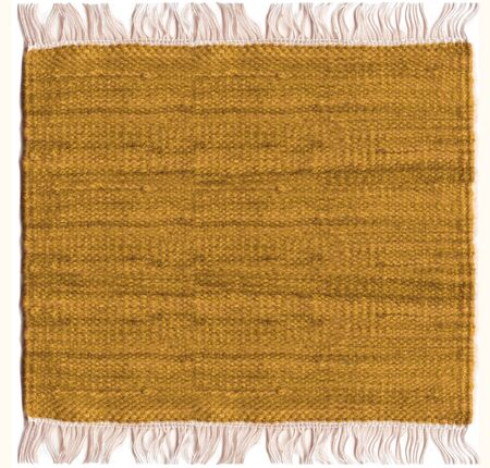 Jute sepia carpet with white fringes photo