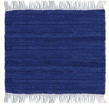 fringes: Jute blue carpet with fringes Stock Photo