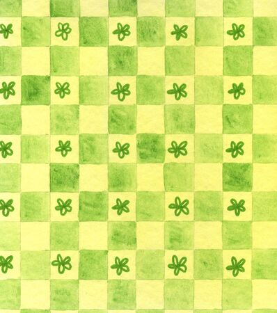 A unique, original hand painted watercolor drawing of a green checkerboard design with hand drawn stars or flowers in some of the squares Stock Photo - 13004392