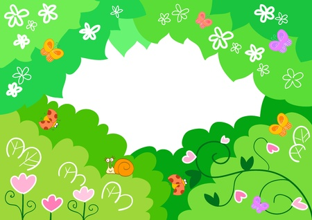 Funny cartoon frame made of leaves, flowers and cute insects  photo