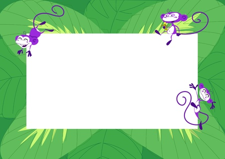 jumping monkeys: Green frame with jumping monkeys and leaves Stock Photo
