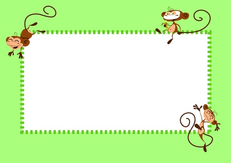 jumping monkeys: Green frame with happy jumping monkeys