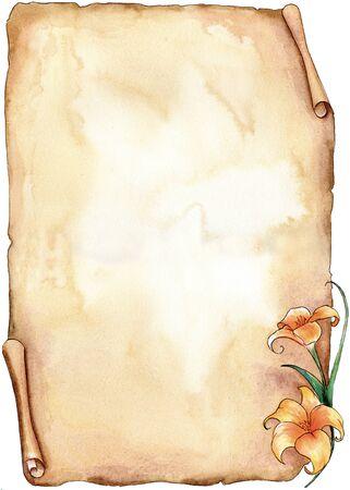пергамент: Сепия старый пергамент с лилии ручной работы с акварелью