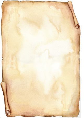 Sepia old parchment hand made with watercolors