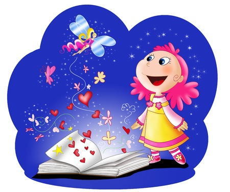 Magic fairy tales book and an amazed girl  Digital illustration