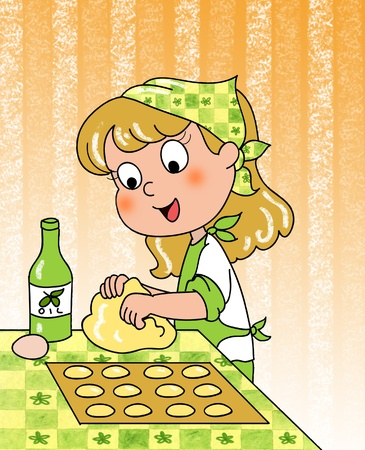 Smiling cute young girl is rolling out dough with olive oil and eggs   photo