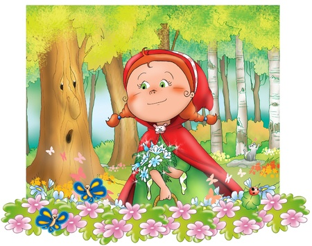 cartoon little red riding hood: Little Red Riding Hood with blue flowers in the wood  Digital illustration  Stock Photo