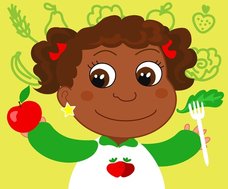 children eating fruit: A smiling young african boy with fruits and vegetables  Cartoon vector illustration about eating healthy food  Illustration