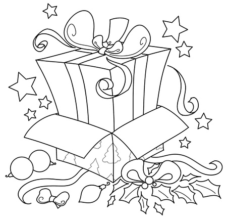 open gift box: Surprise  For Christmas  a gift inside another gift, coloring illustration