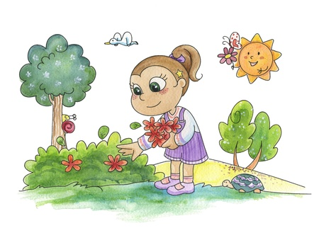 A watercolor of a young cute girl picking flowers in a wood