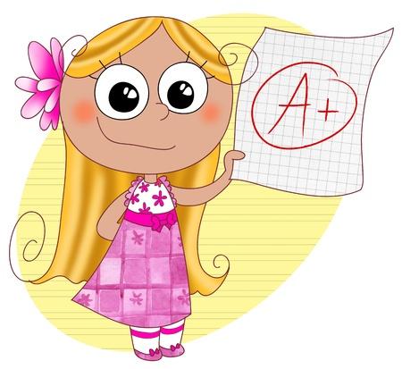 grade: A happy cute girl showing her good grade A, digital illustration