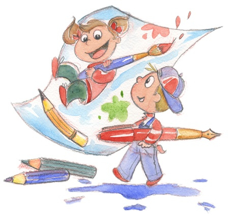 Hand painted illustration of children playing with pencils and paint brushes  illustration