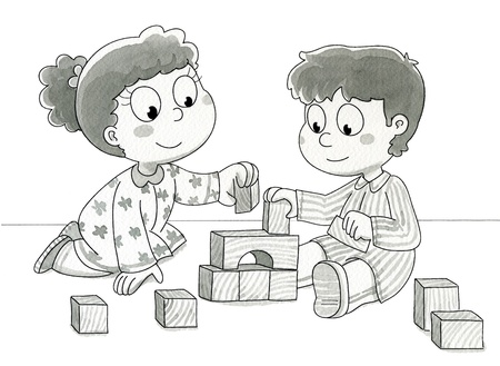 Two cute children playing with bricks  Black and white watercolor illustration  Stock Photo