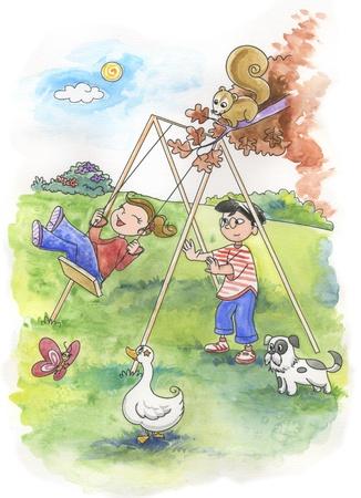 niño empujando: Los niños y niñas jugando, niña sentada en el columpio, hechas a mano de acuarela