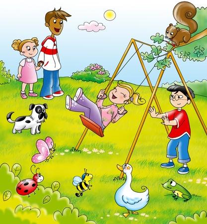 Ni�os de diferentes pa�ses que juegan juntos con animales divertidos, ilustraci�n digital Foto de archivo - 13139967