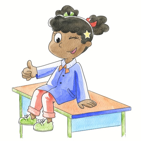 smirk: Smiling schoolgirl with finger up sitting on her desk, hand made watercolor