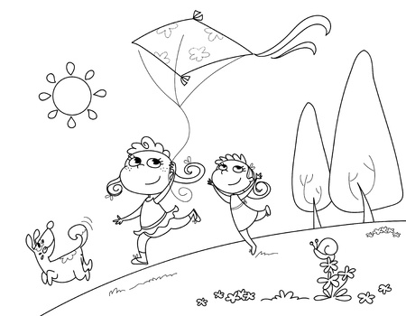 Two sisters and a dog are running with a kite  Digital black and white illustration  illustration