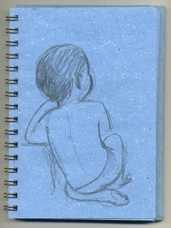 Cute baby sit down, back view, hand made sketch drawn on a blue notepad photo