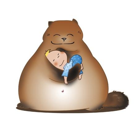 Gran amigo imaginario que sostiene en sus brazos a un bebé dormido linda