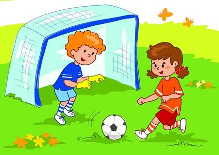 Cartoon boy and girl playing football, digital illustration