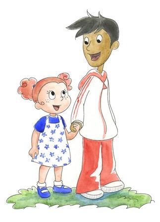 niños de diferentes razas: Dos niños pequeños de diferentes razas de la mano de las manos pintadas de acuarela
